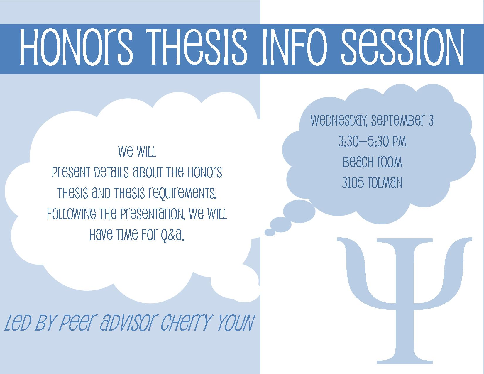 undergraduate honors thesis psychology Research supervised by a faculty advisor culminating in a senior thesis  students who participate in the psychology honors program graduate with a  in  the honors program should talk with vicky burke in psychology undergraduate.